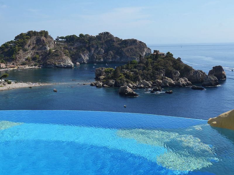 Infinity pool with Isola Bella view