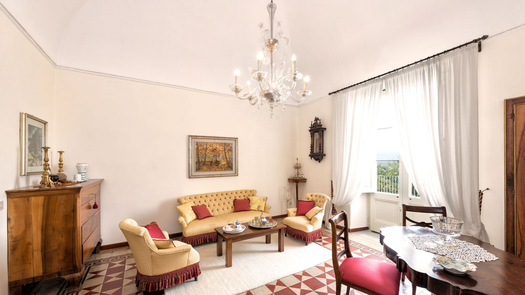 An historical villa with antique furniture